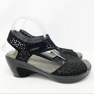 J Sport 'Piper' Black Wedge Sandals Size 10